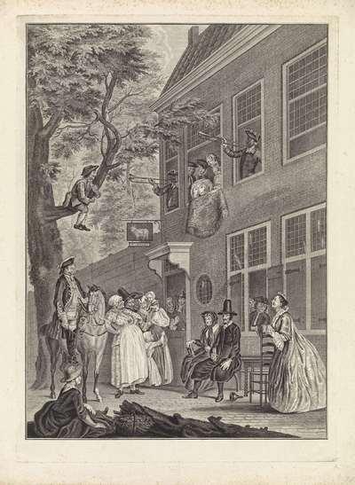 De misleyden: de ambassadeur der Labberlotten vertoont zich voor het venster van de herberg 't Bokki in de Haarlemmerhout