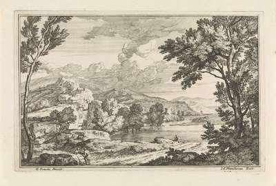 Landschap met heuvels en een toren op de achtergrond; Arcadische landschappen