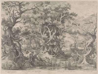 Johannes de Doper biddend in een moeraslandschap