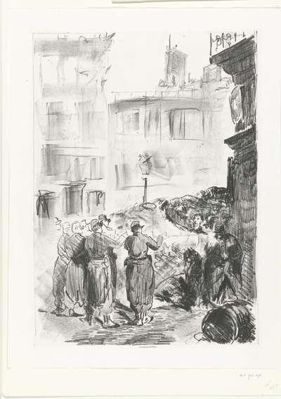 Executie door vuurpeloton van aanhangers van Paris Commune; La Barricade