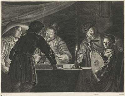 Triktrakspelers bij kaarslicht