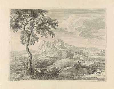 Heuvelachtig landschap met twee baders; Landschappen naar Gaspar Poussin