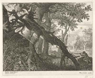 Konijnenjacht in een boslandschap; Zes landschappen