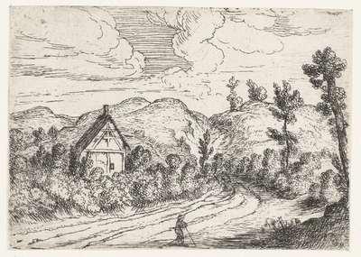 Huis omgeven door struikgewas; Kleine landschappen