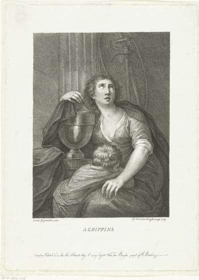 Agrippina de Oudere zit bij urn met as van haar echtgenoot generaal Germanicus en treurend kind; Agrippina