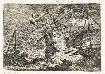 Storm op zee; Gezichten van de haven van Messina
