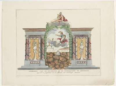 Kunsten en Wetenschappen, decoratie op de Noordermarkt, 1795; Afbeelding van de Decoratie op de Noordermarkt te Amsterdam. Opgericht ter gelegenheid van de Alliantie met Vrankryk MDCCXCV; Tien decoraties bij het...