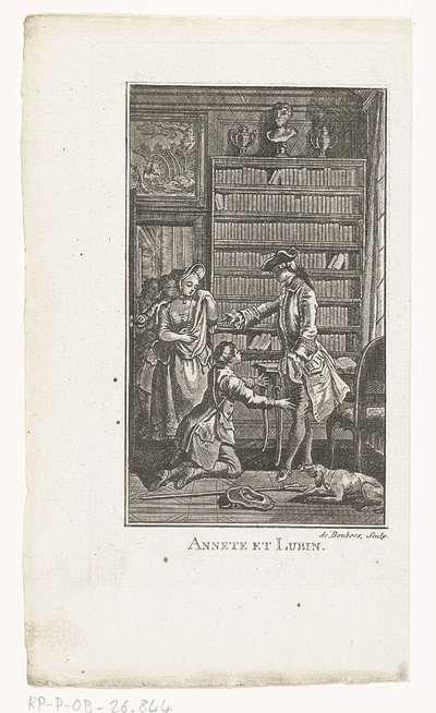 Lubin knielend voor zijn vader; Annete et Lubin