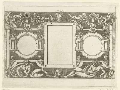 Rechthoekige cartouche tussen twee ronde cartouches; Plafonds en cartouches in een omlijsting van rolwerk met grotesken, guirlandes en mascarons; Kleine cartouche naar voorbeeld te Fontainebleau