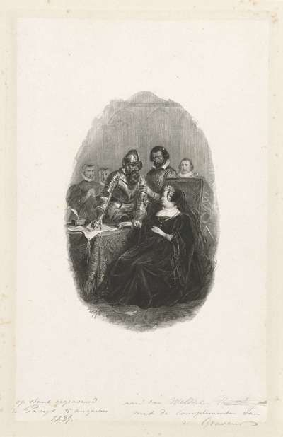 Ridder bij een zittende dame