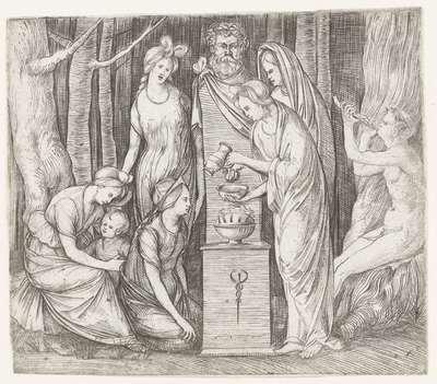 Vrouwen brengen offer aan Priapus