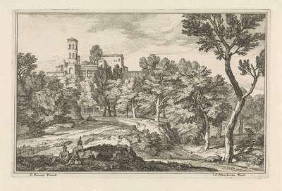 Landschap met bomen en een toren; Arcadische landschappen