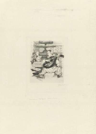 Jonge vrouw met luit; Portret van Maria Tesselschade Roemers Visscher