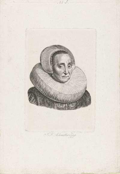 Portret van een vrouw met stijve plooikraag