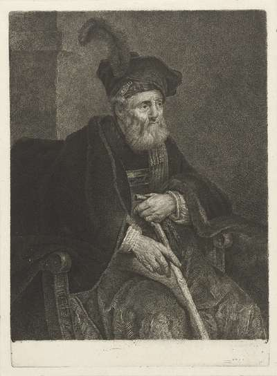 Portret van een onbekende oude man in een stoel