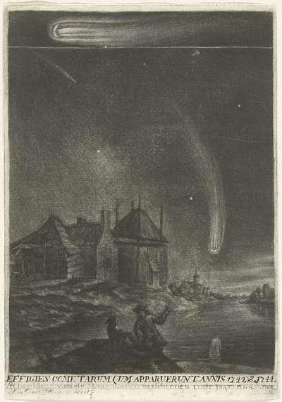 De staartsterren van 1742 en 1744; Effigies cometarum qum apparuerunt annis 1742 & 1744 / Afbeelding van de Staartstarren, verscheenen in de jaaren 1742 en 1744