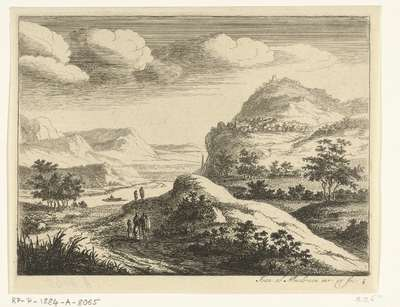 Rivierlandschap met dorp op een heuvel; Zes landschappen, eerste serie
