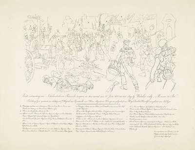 Sleutel bij het schilderij van de ontmoeting van Nederlandse en Pruisische troepen na de Slag bij Waterloo, 1815; Eerste ontmoeting van Nederlandsche - en Pruisische troepen, in den avond van 18 Juni 1815 na den slag bij...