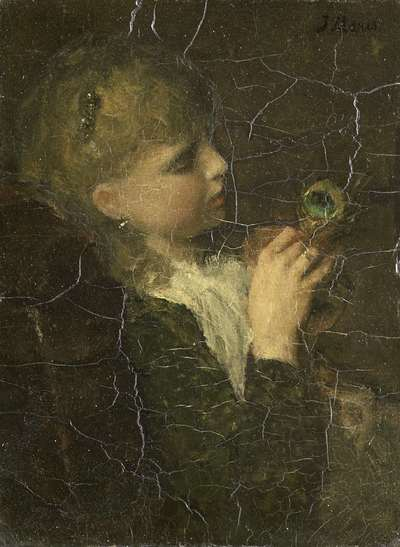 Image from object titled Girl with a Peacock Feather