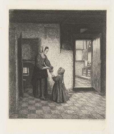 Een vrouw met een kind in een kelderkamer