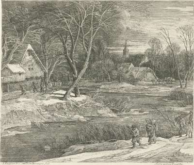 Winterlandschap met een dorpsgezicht