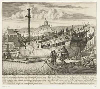 Deels verbrand schip op de VOC-scheepswerf op Oostenburg, 1690; Afbeelding van een schip, leggende voor de Scheeps timmer werf van d' Oostindise Compagnie op Oostenburg (…) / Figure d'un navire, placé devant l'Arcenal de...