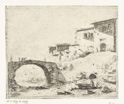 Stenen brug met ezeldrijver bij huizen