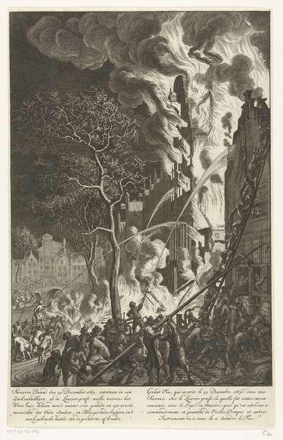 Brand op de Lauriergracht te Amsterdam, 1669; Swaaren brand den 29 december 1669. ontstaan in een zuikerbakkery, op de Laurier graft (…) / Grand feu, qui se prit le 29 decembre 1669. dans une sucrerie, sur le Laurier graft...