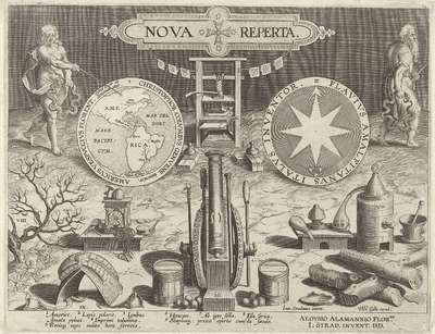 Titelprent voor de serie Nova Reperta; Nieuwe uitvindingen en ontdekkingen; Nova Reperta