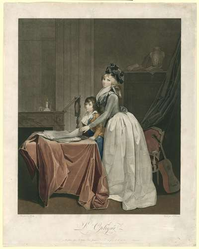 Portret van Louise Sébastienne Gély met stiefzoon achter een opticaspiegel; L'optique