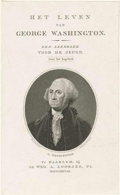 Portret van George Washington; Titelpagina voor: John Marshall, Het leven van George Washington (...), 1838