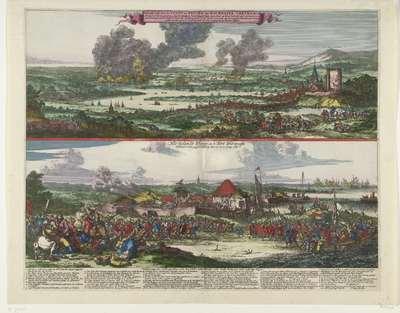 Tocht naar Chatham en de verovering van het eiland Sheppey, 1667; Afbeeldingh van de Stadt en revier van Rochester, Chetham etc. / Het Eylandt Shepey en 't Fort Shirenasse