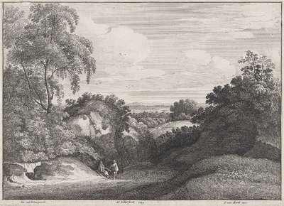 Heuvelachtig landschap met een bedelaar