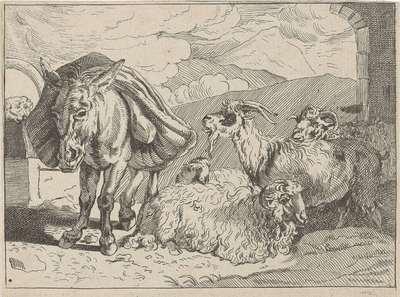 Ezel, schapen en een geit; Diverse dieren