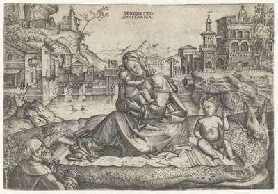 De Heilige Familie met Johannes de Doper in landschap