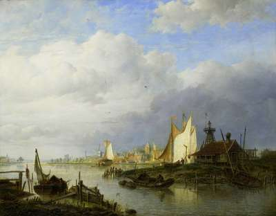 Image from object titled Boats on a River with a Beacon of Light