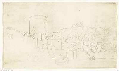 Image from object titled Muur van een burcht met torens; Casteel Gandolfo