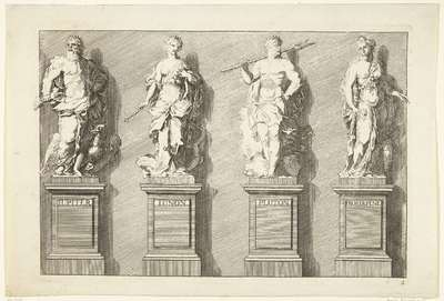 Image from object titled Vier beelden op sokkels: Jupiter, Juno, Pluto, Proserpina; Liber Statuarum