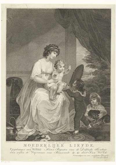 Moeder met drie kinderen in interieur; Moederlijke liefde