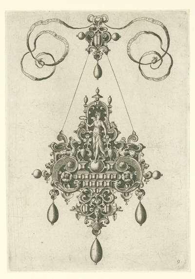 Hanger met Victoria, laurierkrans in de hand; Monilium bullarum inauriumque … icones