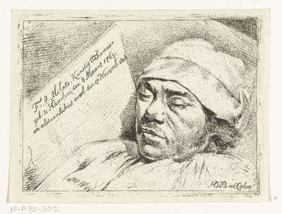 Portret van de schilder Franciscus Andreas Milatz op zijn doodsbed