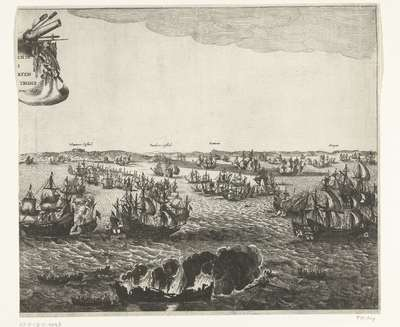 Zeeslag bij Duins (rechterplaat), 1639; Zeeschlach in Duyns door Marten Harpers Tromp den 21 October Anno 1638