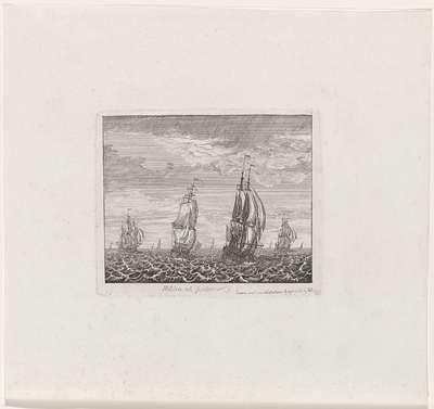 Zeilschepen op volle zee; Militia est potior