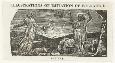 Thenot discussieert met Colinet; Thenot remonstrates with Colinet; Illustrations of imitation of Eclogue I