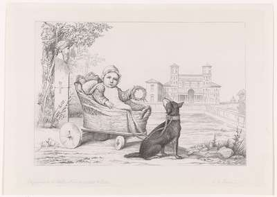 Kinderwagen in de tuin van de villa de Medicis; Les jardins de la Villa Medicis d'après A.Coutan