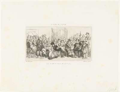 De schuttersmaaltijd in de Voetboogdoelen of St. Jorisdoelen te Amsterdam ter viering van het sluiten van de vrede van Munster, 18 juni 1648; De Schutters Maaltijd