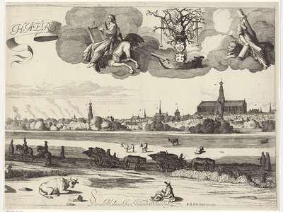 Gezicht op Haarlem (middelste blad); Haerlem