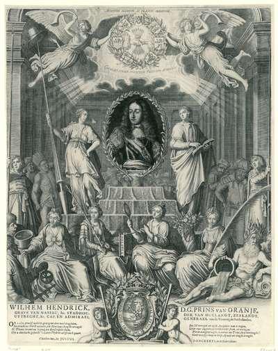 Zinneprent ter ere van Willem III; Wilhem Hendrick D.G. Prins van Oranje, Grave van Nassau (...) Cap. en Admirael Generael vande Vereenigde Nederlanden