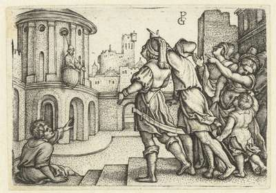 Vergilius in de mand opgehesen en bespot door mensen; Verhaal van de dichter Vergilius