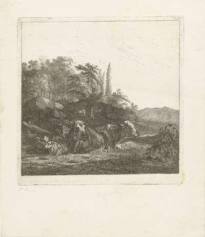 Twee koeien en drie liggende schapen bij een brug